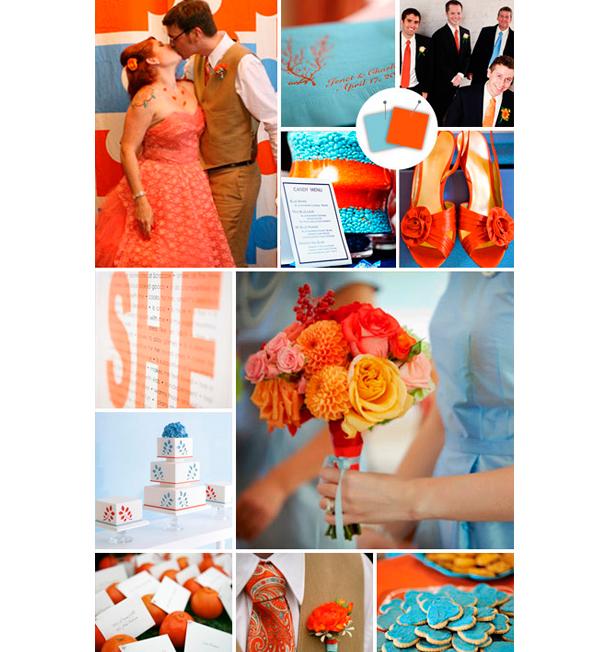 decoracao azul royal e amarelo casamento:azul e laranja